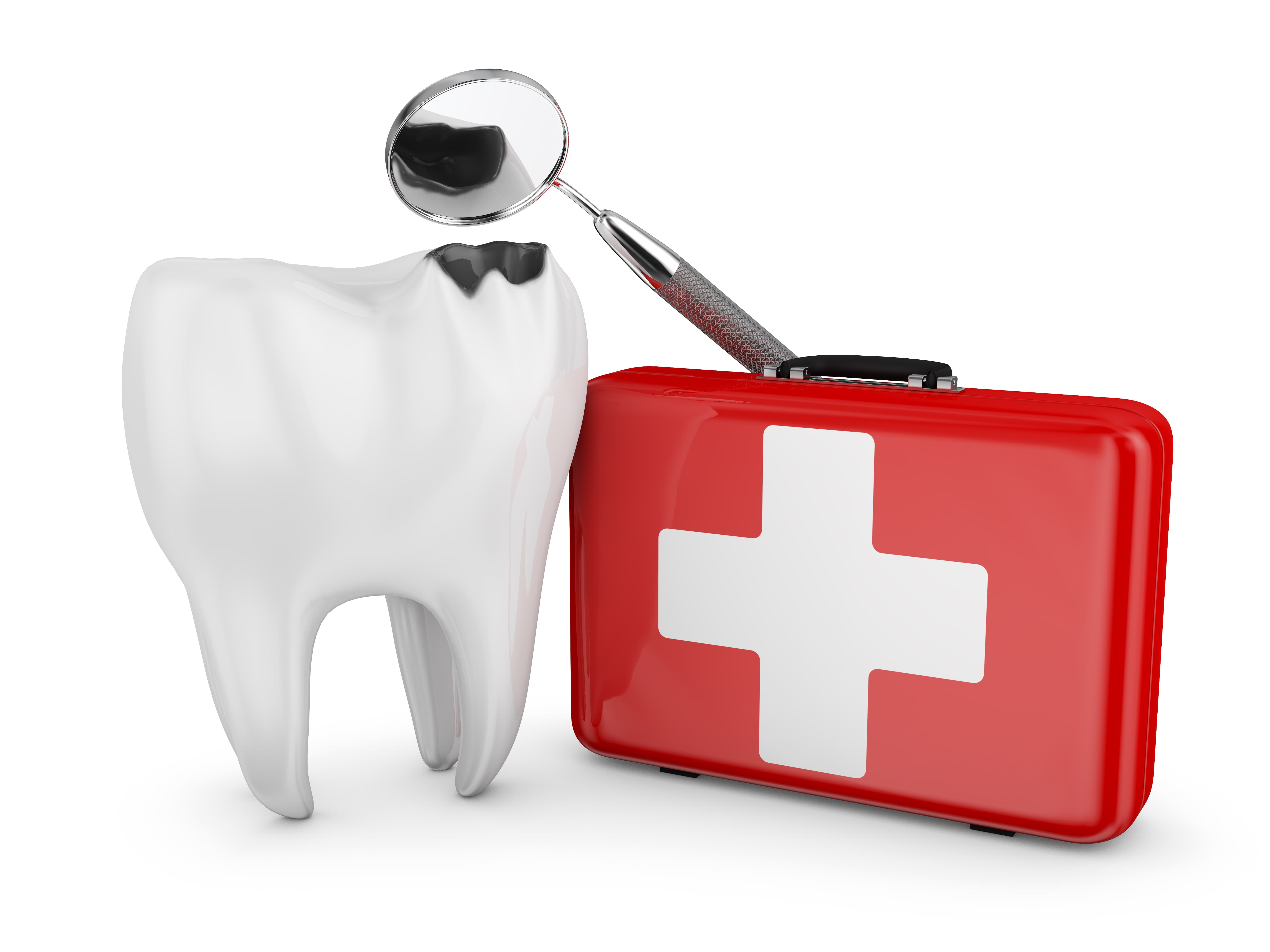 Giant model tooth next to a first aid box